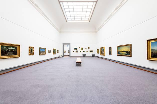 Blick in den Saal im 1. Stock des Kunstmuseums Solothurn, wo derzeit 30 Buchser-Werke gezeigt werden.