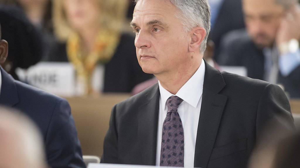 Aussenminister Didier Burkhalter Ende Februar bei der Eröffnung der Sitzung des UNO-Menschenrechtsrats in Genf. (Archivbild)