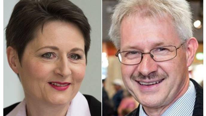 Richterin und SVP-Kandidatin Franziska Roth und Gewerbeverbands-Präsident Kurt Schmid.