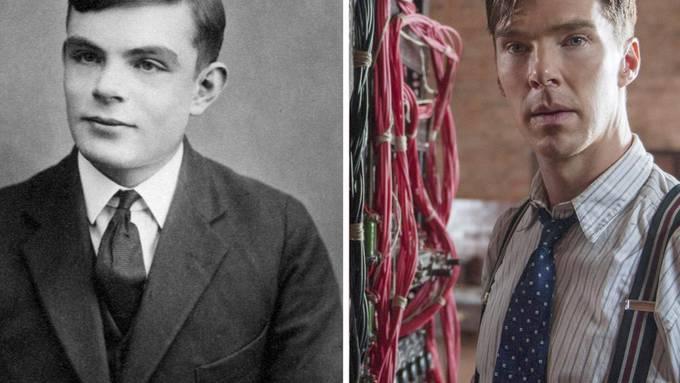 """Alan Turing (links) und Benedict Cumberbatch, der ihn im Film """"The Imitation Game"""" verkörpert."""