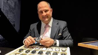 Roland Buser von Revue Thommen Watches am Stand an der Baselworld mit seiner Uhrenkollektion. Sie ist nicht «Made in Waldenburgertal». Noch nicht.