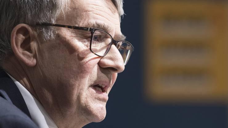 Urs Schwaller, Verwaltungsratspräsident der Schweizerischen Post an der Medienkonferenz vom Donnerstag.