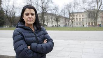 Anna Gabriel, member of Catalan Parliament representing Popular Unity Candidacy (CUP), the pro-Catalan independence political party, poses in front of the University of Geneva, at parc des Bastions, in Geneva, Switzerland, on Wednesday, February 21, 2018. (KEYSTONE/Salvatore Di Nolfi)