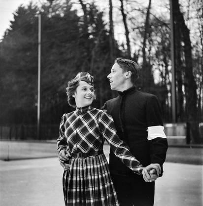 Pierrette Knie war Meisterin im Paarlauf (hier mit Bruder Paul Dubois).