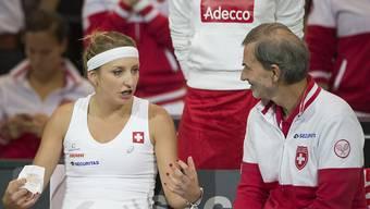 Timea Bacsinszky und der Schweizer Fed-Cup-Captain Heinz Günthardt