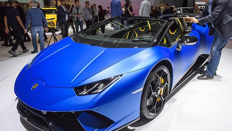 Ein Lamborghini-Modell des Typs Huracan am Automobilsalon in Genf 2018. (Archivbild)