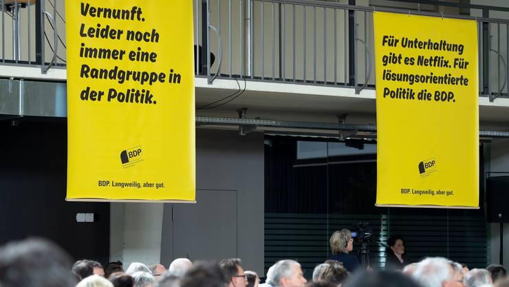 Plakate, fotografiert an der Delegiertenversammlung der BDP Schweiz, am Samstag, 27. April 2019 in Burgdorf. (KEYSTONE/Anthony Anex)