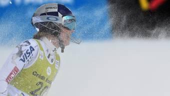 Lindsey Vonn atmet erleichtert auf nach dem geglückten Kombi-Rennen in Andorra am Tag nach ihrem Sturz im Super-G. Keystone