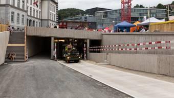 Das ist die Ausfahrt des Bustunnels (August 2017).