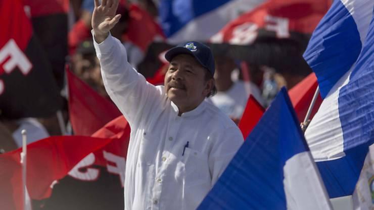Nicaraguas Präsident Daniel Ortega bei der Feier zum 39. Jahrestag der sandinistischen Revolution in der Hauptstadt Managua.