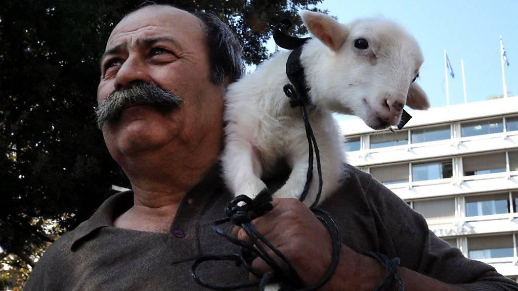 Protest mit Jöh-Effekt: Ein griechischer Bauer hat ein weisses Lämmchen mit zur Kundgebung vor dem Parlament in Athen mitgebracht.