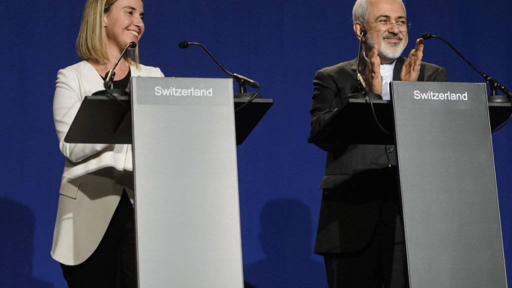 Atomgespräche in Lausanne mit der EU-Aussenbeauftragten Federica Mogherini und Irans Aussenminister Mohammad Sarif im vergangenen April