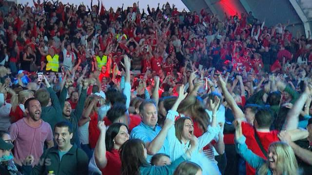 Schweizer Fans im Freudentaumel