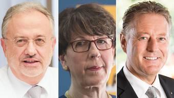 Post-Vizepräsident Adriano Vassalli, Ex-Post-Chefin Susanne Ruoff und Ex-Postauto-Chef Daniel Landolf.