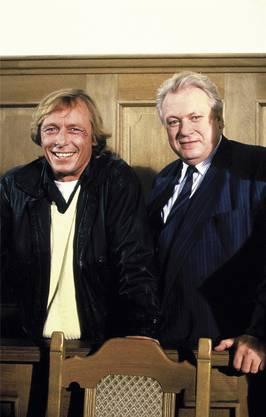 Claus Theo Gärtner als Josef Matula (l.), Günter Strack als Dr. Dieter Renz. Die Serie «Ein Fall für zwei» begann 1981 mit zeitweise 21 Millionen Zuschauern. Martin Sperling