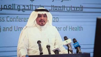 Mohammad Saleh Benten, Hadsch-Minister von Saudi-Arabien, spricht bei einer Pressekonferenz. Foto: -/Saudi Press Agency/dpa