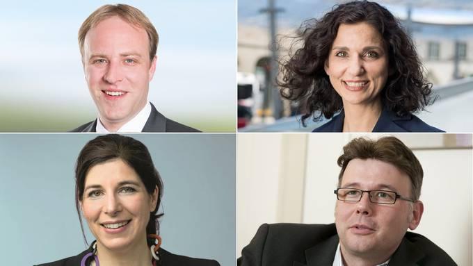 Wer folgt auf Urs Hofmann? (Von oben links nach unten links) Marco Hardmeier, Gabriela Suter, Dieter Egli und Simona Brizzi überlegen noch, sind aber nicht abgeneigt.