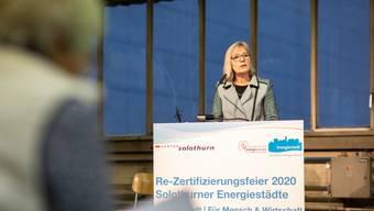 Frau Landammann Brigit Wyss begrüsste die Anwesenden zur Re-Zertifizierungsfeier in Zuchwil.