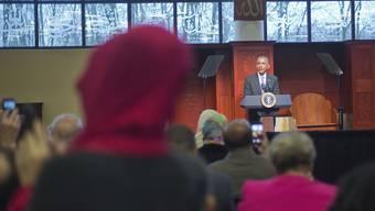 US-Präsident Obama spricht in der Moschee in Baltimore.
