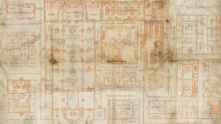 """Der berühmte St. Galler Klosterplan aus dem 9. Jahrhundert wird erstmals im Original der Öffentlichkeit gezeigt. Die neue Dauerausstellung """"Wunder der Überlieferung"""" öffnet am 13. April ihre Pforten."""