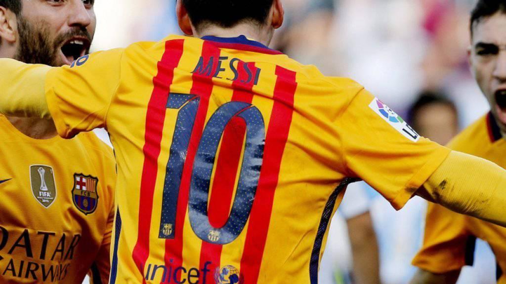 Lionel Messi jubelt nach seinem Treffer in Malaga