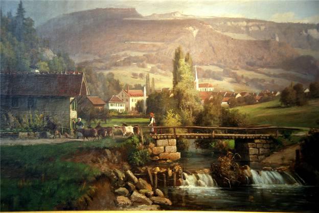 Die erste Fabrik in romantischer Umgebung, gemalt um das Jahr 1870.