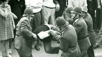 Rabiates Vorgehen der Polizei an der Tramdemonstration vom 18. Juli 1969.