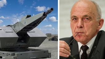 VBS-Chef Ueli Maurer und ein Flugabwehrsystem der Firma Rheinmetall.