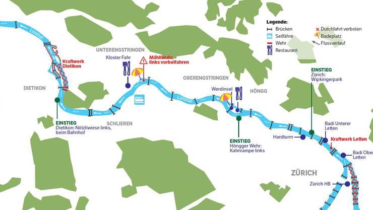 Die Gummiboot-Routen in der Region.