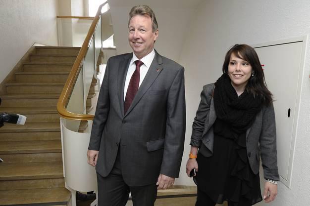 Ein Bild aus glücklichen Zeiten: CVP-Präsidentin Sabrina Mohn mit Regierungsrat Peter Zwick am Tag von dessen Wiederwahl.