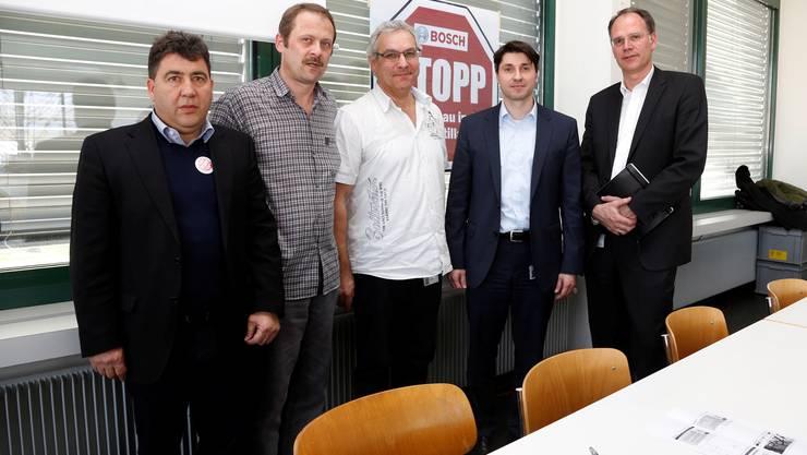 v.l.: Jesus Fernandez (UNIA), Alain Beer (Praes. BEKO), Markus Ziegler (Praes. Angestelltenkommission), Alexander Jahn (Personalleiter Scintilla), Carsten Loeffelholz (Bosch)