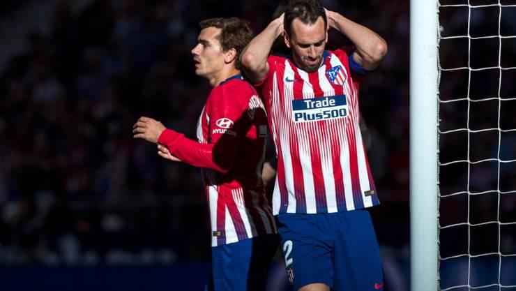 Antoine Griezmann (links) und Diego Godin mussten sich mit Atlético bei Leganes mit einem Remis begnügen
