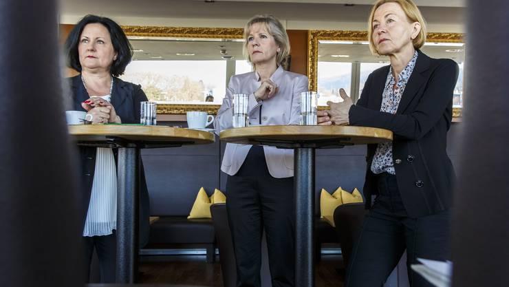Regierungsratskandidatinnen im Streitgespräch: v.l: Marianne Meister (FDP), Brigit Wyss (G), Susanne Schaffner (SP)