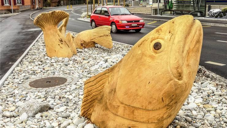 Kunst aus Holz zwischen Strasse und Gehweg: Fischskulpturen des Bildhauers Alex Schaufelbühl bei der sanierten Kreuzung Bünzbrücke in Waltenschwil; hinten rechts die neue Haltestelle mit dem speziellen Buswartehäuschen. Walter Christen