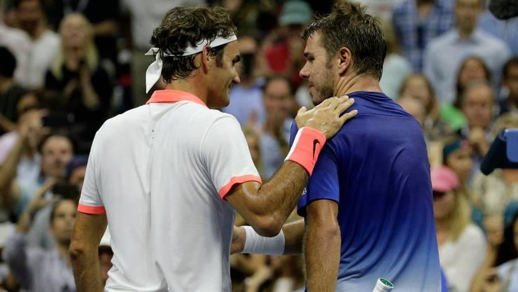 Roger Federer und Stan Wawrinka trennt noch je ein Sieg vor einem Wiedersehen in den Halbfinals der US Open (Bild: Keystone).