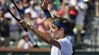 Bei diesem Siegjubel nach dem Viertelfinal wusste Roger Federer noch nicht, dass er mit diesem 6:4, 6:4-Erfolg über Hubert Hurkacz schon das Finalticket in Indian Wells löste