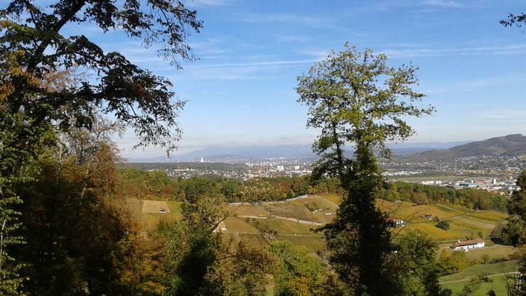 Blick von der Oberen Klus bei Pfeffingen, über die Untere Klus, Aesch, Reinach bis nach Basel.