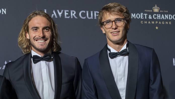 Stefanos Tsitsipas und Alexander Zverev in schickem Zwirn beim Laver Cup.