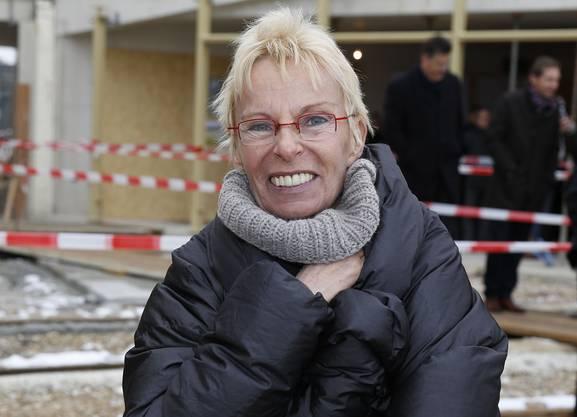 Die Frau hinter dem Campus: FCB-Ehrenpräsidentin Gigi Oeri freut sich über die Aufrichtung.