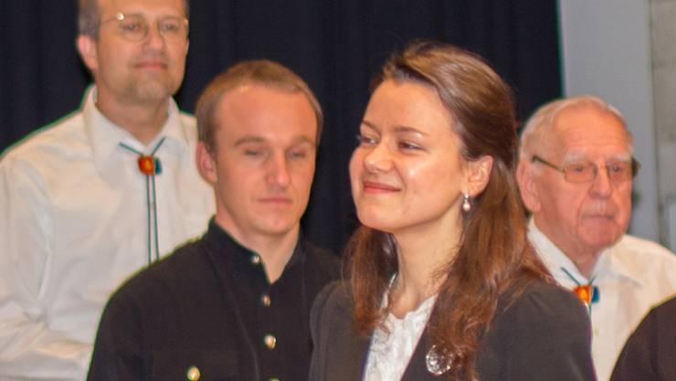 Dirigentin Anna Miklashevich bei ihrem Mägenwiler Debüt. vsc