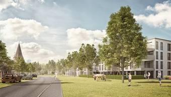 Nahe an der Reuss entsteht das neue Quartier «Am Ufer». Visualisierung/zvg