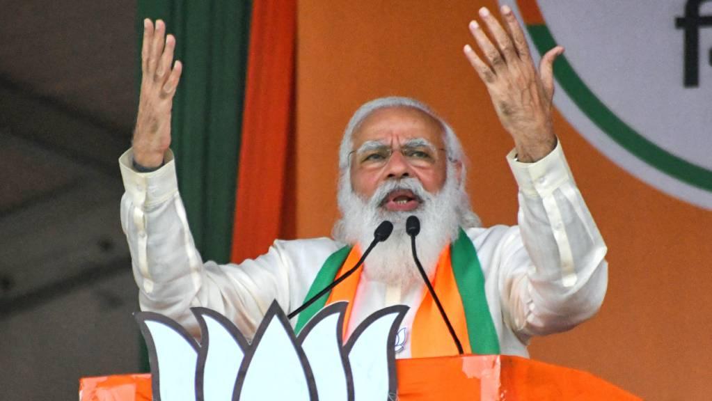 Narendra Modi, der indische Premierminister, spricht bei einer Wahlkampfveranstaltung. (Archivbild)