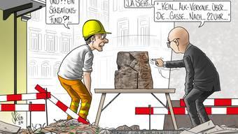 Cartoon der Woche In Baden steht ein Alkohol-Verkaufsverbot über die Gasse ab 22 Uhr zur Debatte - unser Karikaturist schlägt den Bogen zu den neusten Funden im Bäderquartier