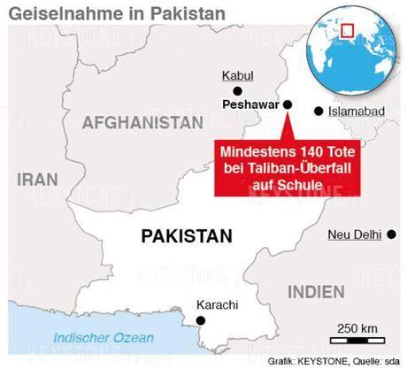 In Peshawar starben über 140 Menschen bei einem Taliban-Überfall auf eine Schule.