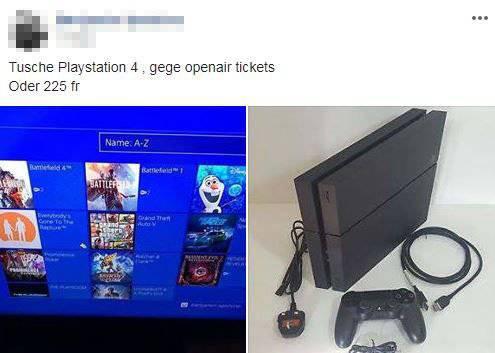 Seine Playstation oder 225 Franken bietet ein Mann für ein OAFF-Billett. (Screenshot: Facebook/Du bisch vo Frauefeld, wenn...)