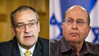 Bundesrat Guy Parmelin und Israels Verteidigungsminister Moshe Yaalon.