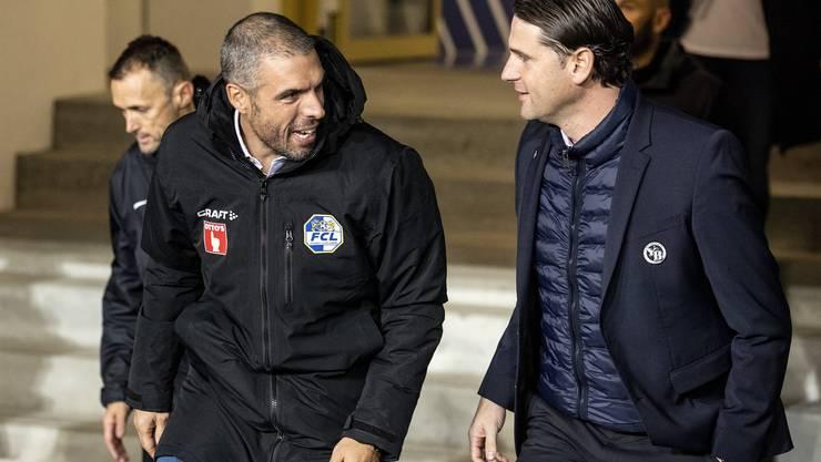 Luzerns Cheftrainer Fabio Celestini und YB Trainer Gerry Seoane.