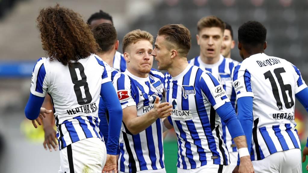Die Herthaner hatten beim Sieg gegen Freiburg dreimal Grund zur Freude.