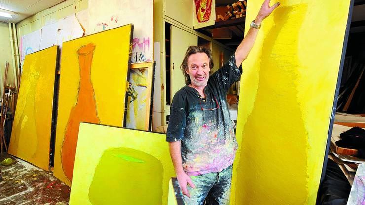 Roland Adatte: Der Magglinger Maler mit Atelier in Grenchen musste nicht lange zum Mitmachen animiert werden. Oliver Menge