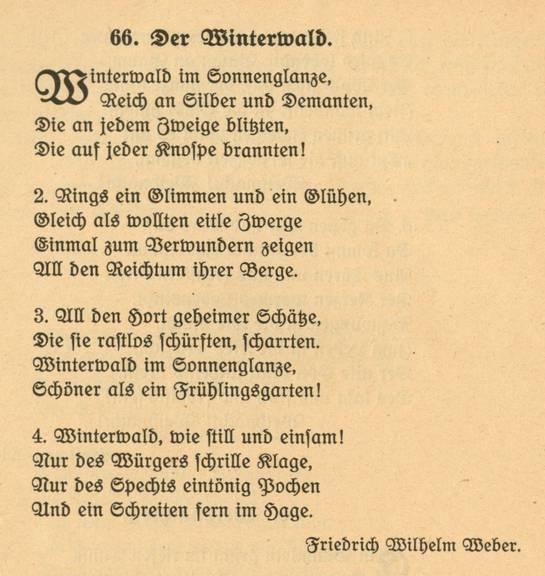 Das Gedicht «Winterwald» im Schulbuch aus dem Jahr 1925. (Bild: Staatsarchiv St.Gallen)